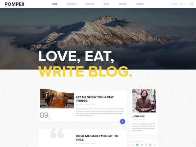 POMPEII | Material Personal Blog Homepage personal blog template material design dzoan card design psd homepage