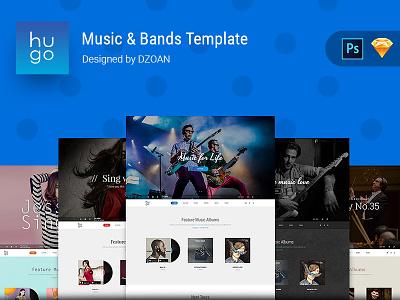 HUGO | Music & Bands Template singer artist dzoan ui8 template sketch psd bands music