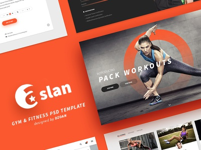 ASLAN | Gym & Fitness PSD Template yoga trainer tag sport psd personal trainer healthy gym fitness dzoan diffused shadow aslan
