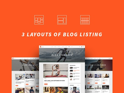 ASLAN | Blog Listing Layouts ui8 yoga sport psd personal trainer gym fitness dzoan blog grid masonry aslan
