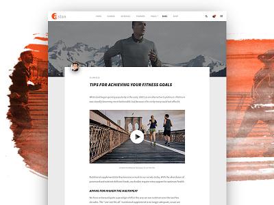 ASLAN | Article Post aslan post article blog dzoan fitness gym personal trainer psd sport yoga ui8