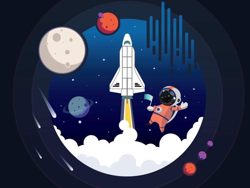 space motion 2d moon space art digital design illustration animation