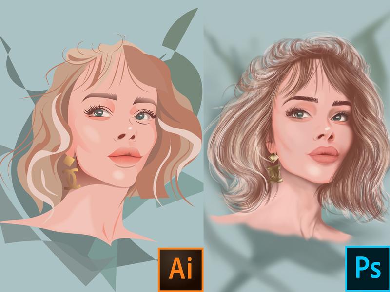 The Girl ux ui color minimal portrait artwork artist digital photoshop illustrator illustration 2d