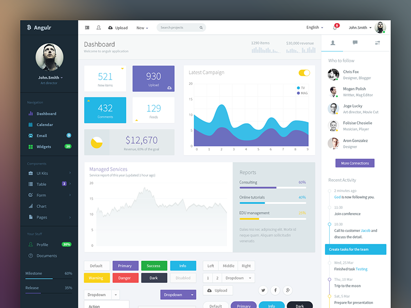 Top 10 free material design psd templates and ui kits.