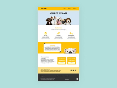 Dog Care Landing page