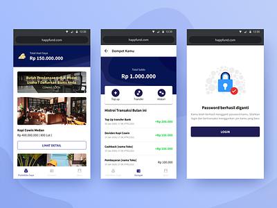Crowdfunding App - Happfund donate crowdfunding mobile app design uiux ux design blue mobile ui design app design