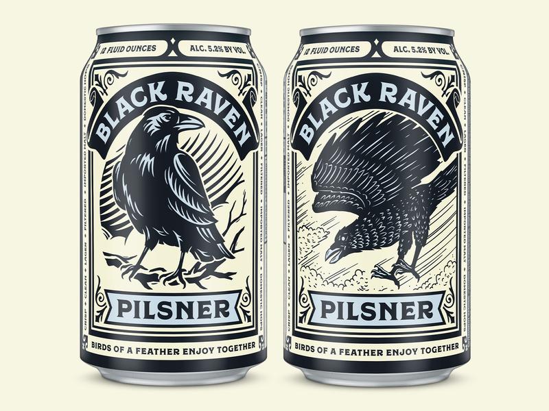 Black Raven Pilsner traditional woodcut black raven bird ornate graphic design can packaging design craft beer beer illustration