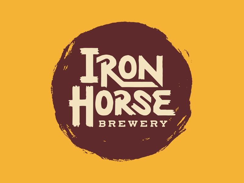 Iron Horse Brewery gritty horse iron handmade western grunge vintage craft beer beer logo system branding design logo