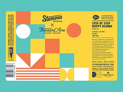 Stemma 16oz Cans stripes craft beer beer pastel geometic 70s vintage retro can packaging label design illustration