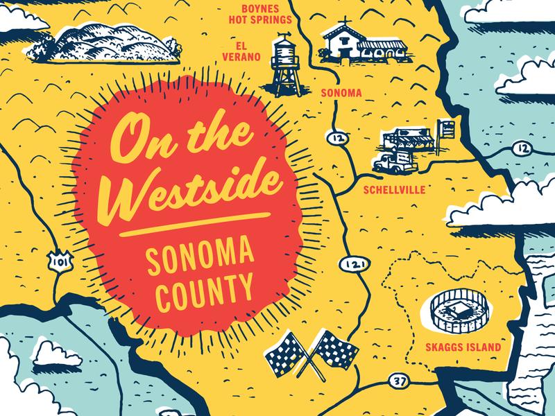 On The Westside pastel california tourist travel 50s map vintage packaging can craft beer beer design illustration