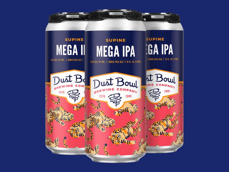 Supine Mega IPA fun animal cute pattern tiger label can design packaging craft beer beer illustration