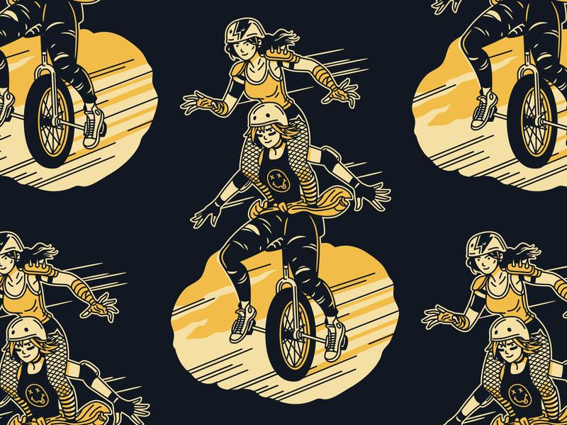 Common Denominator Pilsner can nirvana girl punk roller skate roller derby grunge seattle craft beer beer design packaging illustration