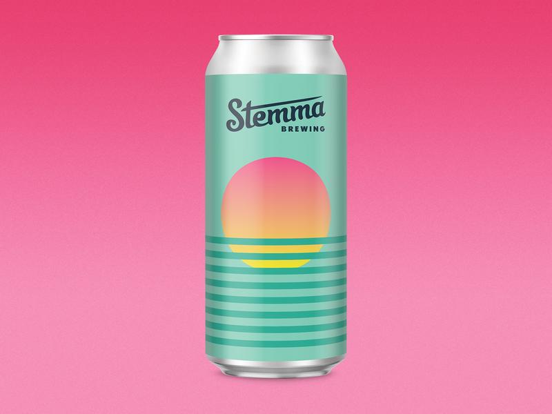 Citra Single Hop vaporwave 70sdesign beer 80s vintage pastel packaging can label craft beer illustration sunset geometry