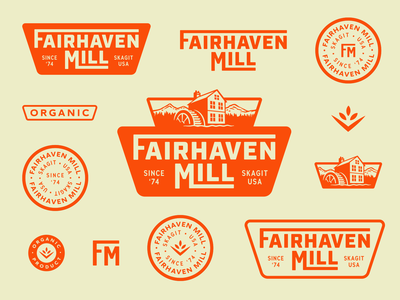 Fairhaven Mill retro industrial logo branding organic grain mill 50s vintage brand design brand illustration design