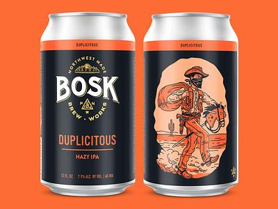 Duplicitous Hazy IPA cactus label horse western monoline cowboy branding can design packaging illustration craft beer beer