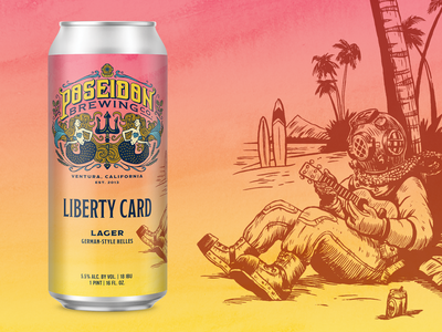 Liberty Card Lager ukelele palm tree hawaii surfing beach diving diver label can craft beer packaging beer illustration