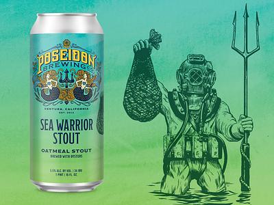 Sea Warrior Stout vintage ink woodcut sea ocean trident diving helmet diver can craft beer beer packaging illustration