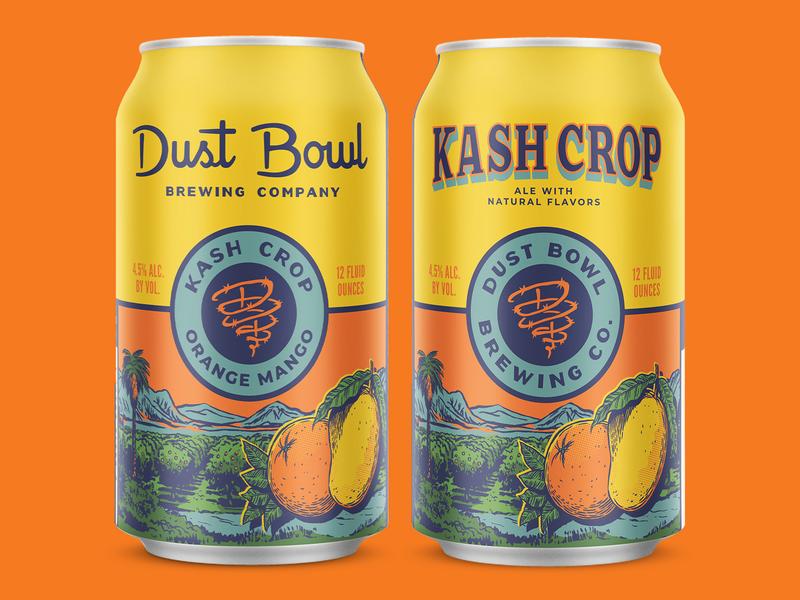 Kash Crop typography mango orange label california orange crate vintage can craft beer packaging beer illustration