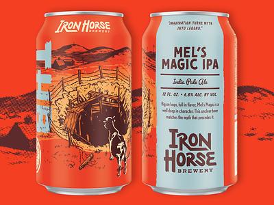 Mel's Magic IPA western vintage texture packaging label illustration handmade halftone craft beer can brush box beer