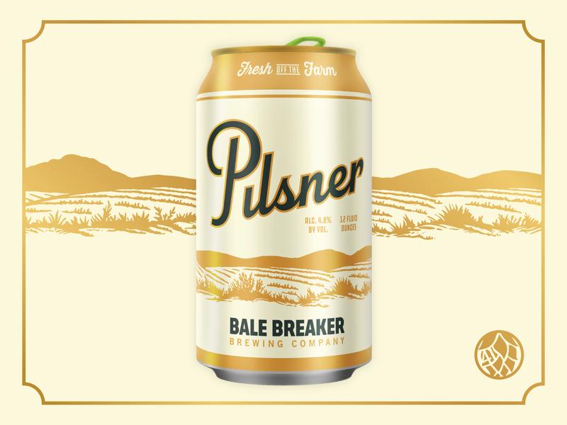 Bale Breaker Pilsner pacific northwest farm script gold box classic vintage typocraphy illustration packaging can craft beer beer