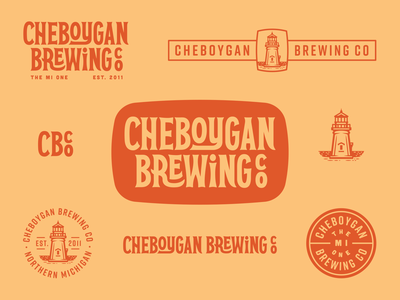 Cheboygan Brewing Co. illustration typogaphy logo system lighthouse craft beer beer vintage retro industrial design branding brand design brand