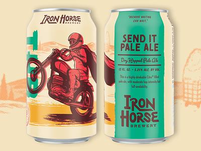 Send It Pale Ale wheelie motorcycle vintage texture packaging label illustration handmade halftone craft beer can box beer