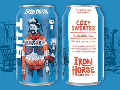Cozy Sweater knitting can sweater grandma christmas texture packaging label illustration handmade halftone craft beer beer