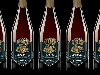 Loma Barrel-Aged Series gold vintage barrel california bobcat animal illustration label packaging bottle craft beer beer designer premium barrel-aged
