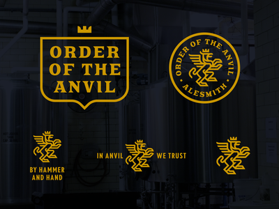 Order of the Anvil premium gold brand book design gryffin speciality brewery beer craft beer logo system logo illustration branding