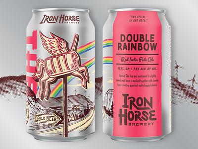 Double Rainbow Red IPA custom rainbow pacific northwest grunge vintage roadside horse ink can craft beer packaging beer illustration