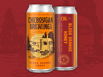 Cheboygan Core Beers series label beer can design retro vintage packaging craft beer lake sailing camping lighthouse typography illustration