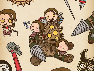 Bioshock Stickers underwater art deco sticker cute graphic design illustration gaming merchandise video games