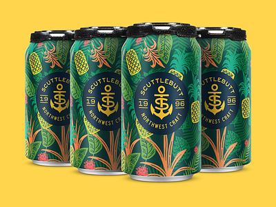 Pineapple Hefeweizen flower drink fruit jungle floral tropical beer packaging pattern design illustration