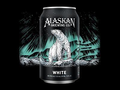 Alaskan White design illustration redesign label packaging can craft beer beer winter northern lights bear alaska
