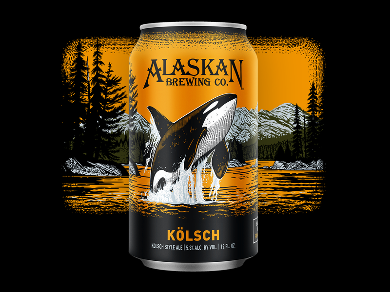 Alaskan Kölsch ocean redesign illustration packaging craft beer can killer whale orca whale beer alaska