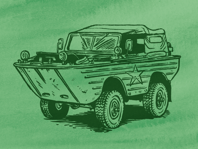 Operation Duck military craft beer vehicle amphibious car truck ww2 army packaging beer watercolor illustration