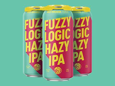Fuzzy Logic design bright minimal geometric modern psychadelic can packaging craft beer beer
