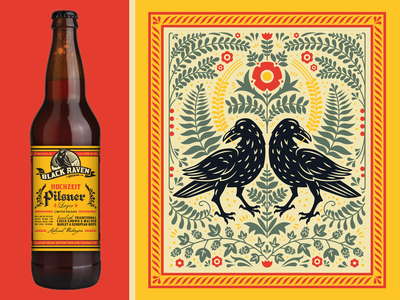 Hochzeit Pilsner illustration floral german folk art summer bird crow raven label packaging bottle craft beer beer