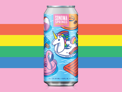 Float The Day Away IPA packaging rainbow flamingo unicorn float label pool illustration craft beer pastel colorful can beer