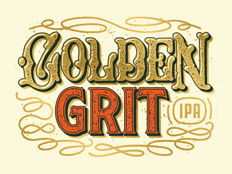 Golden Grit IPA can grunge script custom type lasso cowboy western graphic design illustration packaging craft beer vintage beer