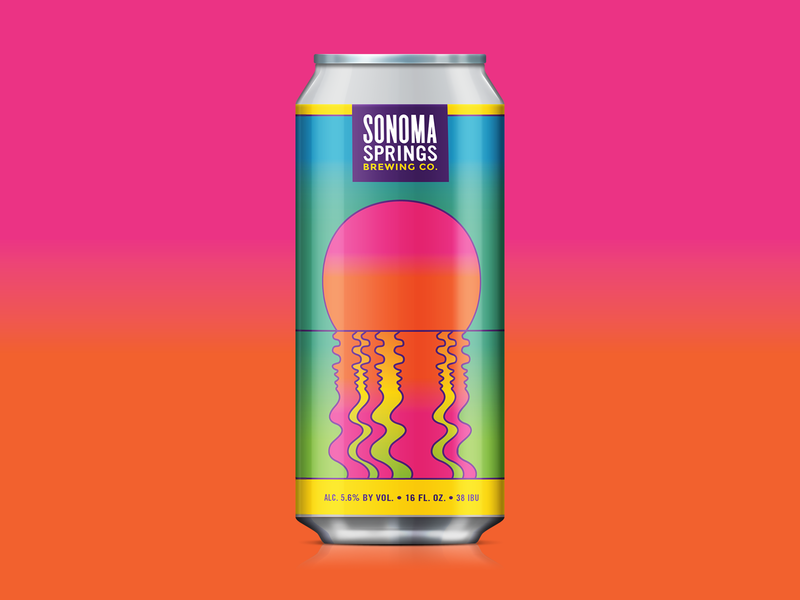 Simcoe Sunset psychedelic california hazy sunset gradient 70s vintage craft beer packaging design beer illustration