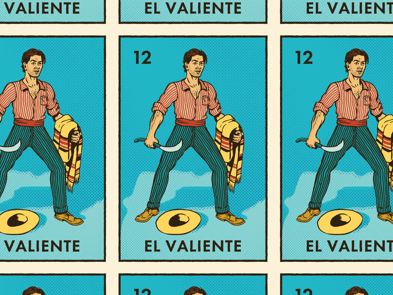 El Valiente design halftone grunge loteria mexican mexico vintage can craft beer beer packaging illustration