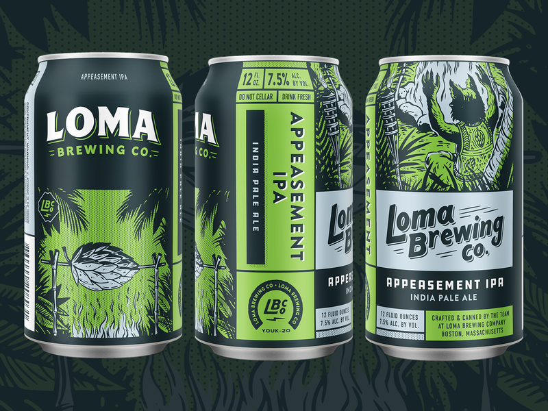 Appeasement IPA can ipa palm tree tropical custom type craft beer colorful halftone illustration packaging bobcat beer animal
