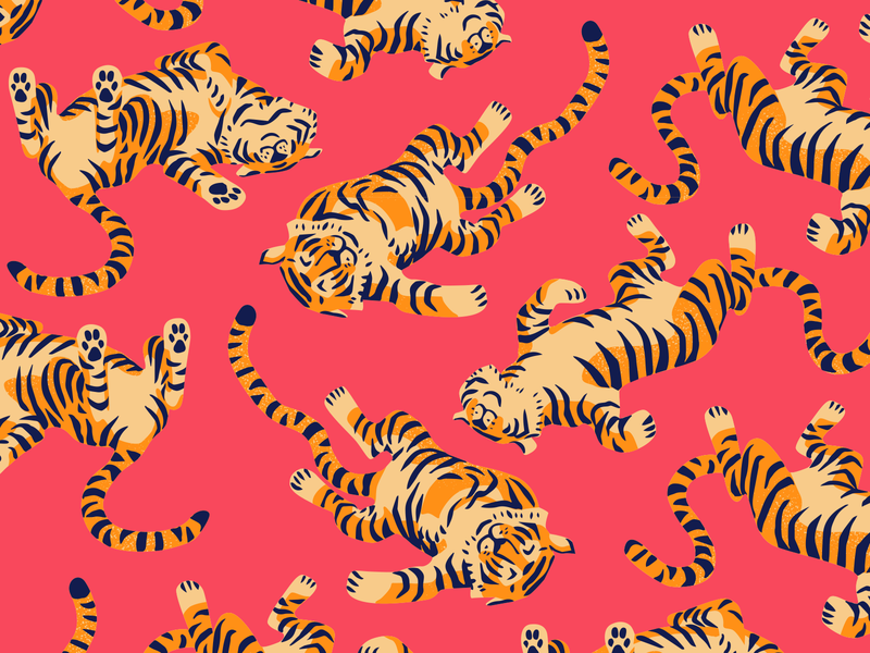 Tiger Nap jungle animal pattern design tropical colorful cute tiger pattern illustration craft beer packaging design beer