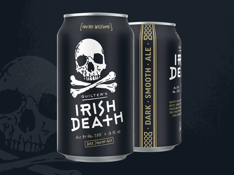 Quilter's Irish Death craft beer gold pattern illustration skull death irish brand packaging redesign can beer