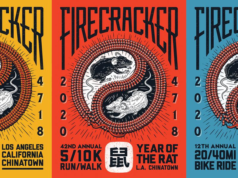 Year of the Rat zodiac distress chinatown poster firecracker chinese new year rat animal typography custom type design illustration