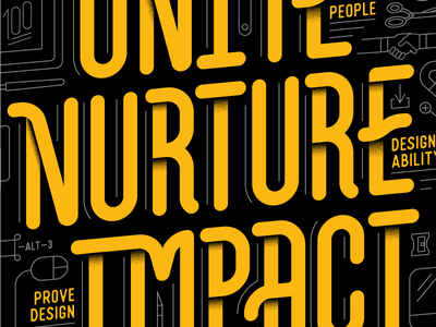 Unite Nurture Impact type treatment yellow typography custom type