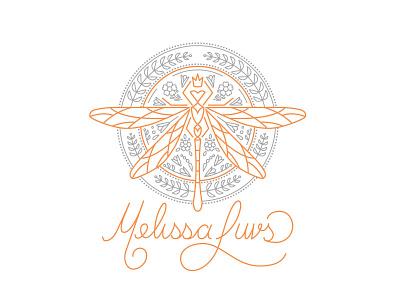 Melissa Luvs handwritten custom typography wip vector logo enclosure dragonfly design crest branding