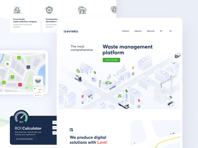 Evreka : Homepage recycle waste management illustration design homepage ux ui website web