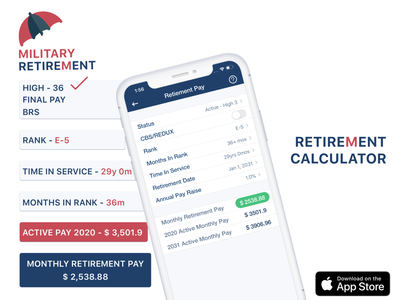 Military Retirement Calculator iOS App benefit retirement calculator military hsg iphone x itunes ios appstore product branding logo design mobile app design screenshots appstore application app design ui iphone app